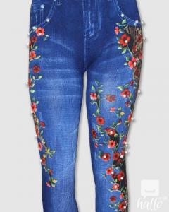 Fancy Pearls And Studs Decorated Jeans Leggings Tights