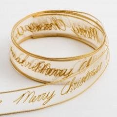 Gold Merry Christmas Wired Edge Organza Ribbon