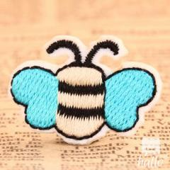 Blue Wing Bee Embroidered Patches
