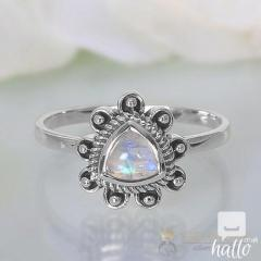 Moonstone Ring Bohemian Treble