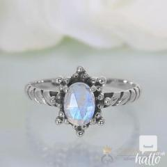 Moonstone Ring Coral Palm