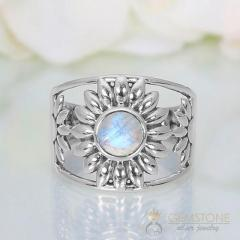 Moonstone Ring Blossoming Moon-GSJ