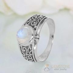 Moonstone Ring Obsidian Folklore-GSJ