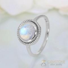 Moonstone Ring Fiery Ornament-GSJ