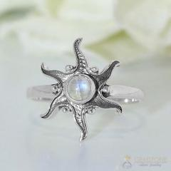 Moonstone Ring Starburst Sun-GSJ