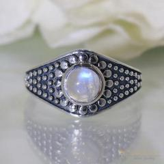 Moonstone Ring Tribal Shield-GSJ