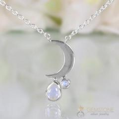 Moonstone Necklace - Crescent Moon - Gsj