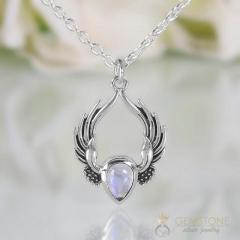 Moonstone Necklace - Festival Feather - GSJ