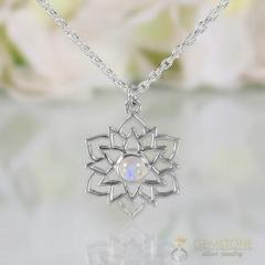 Moonstone Necklace - Exotic Lotus - Gsj