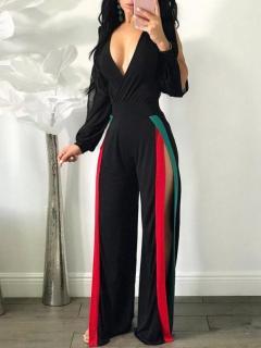 Shop Now - Black Side Split Striped Jumpsuit Online