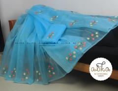 Blue Kota Saree With Dual Shade of Floral Ribbon Work