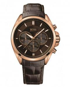 Hugo Boss Mens Chronograph Brown Leather Watch