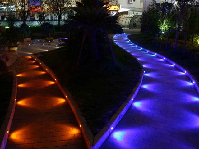 WiFi Deck Lights, Outdoor Recessed Step Stair Blue LED 5 Image
