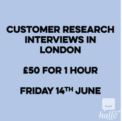 Customer research study 50 for 1 hour interview