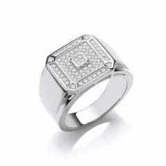 Silver Signet Style Cluster Ring From David Deyong