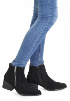 Buy Black Ankle Boots with Zip Closure at London Rag