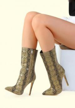 Buy Snake Print Stiletto Boots at London Rag