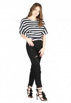 Buy Black Distressed Boyfriend Jeans at London Rag