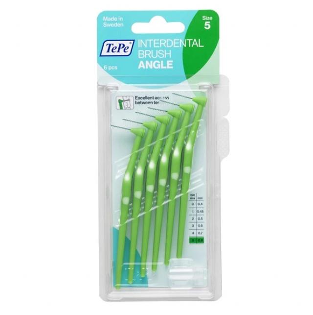 Buy TePe Angle 0.8mm Green Interdental Brush by Nieboo 5 Image