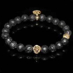 Black Lava Rock Lion Bracelet  Energy and Strength