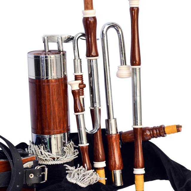 Irish Uilleann Pipe Half Set Rosewood Bagpipe, 3 Image