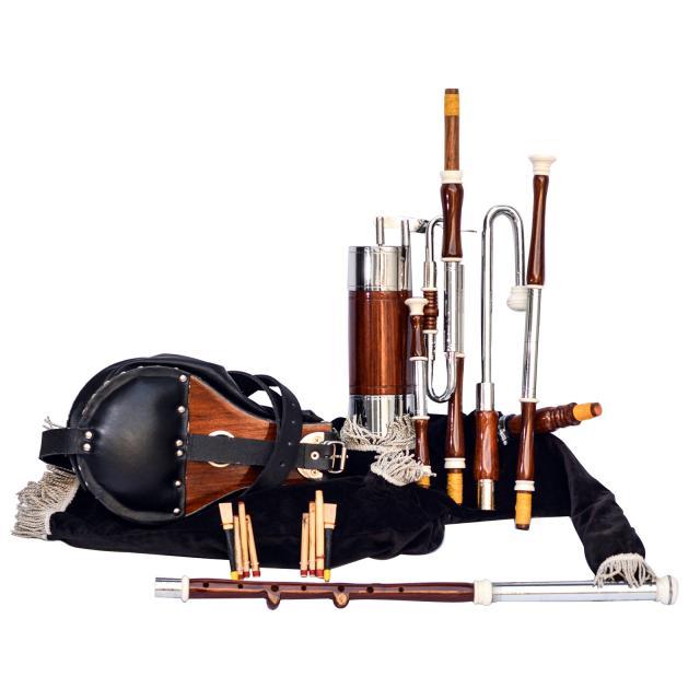 Irish Uilleann Pipe Half Set Rosewood Bagpipe, 4 Image