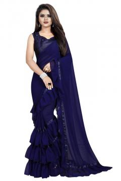Womens Georgette Ruffle Frill Saree With Blouse Piece