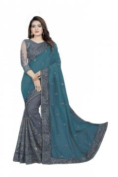 Embroidered Bollywood Georgette, Net Saree