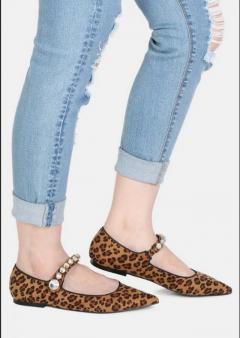 Buy FEDORA Leopard Pointed Ballerina Flats from Rag&Co