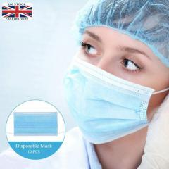 10PCS DISPOSABLE 3 PLY SURGICAL FACE MASK