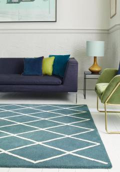 Albany Rug By Asiatic Carpets In Diamond Teal De