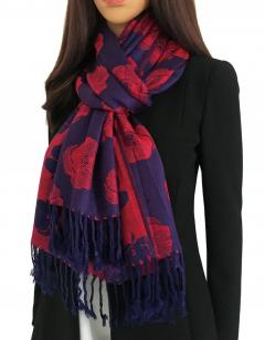 Large Reversible Navy Blue And Red Poppy Pashmin