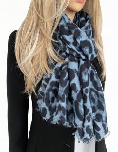 Large Blue Cotton Mix Leopard Print Scarf