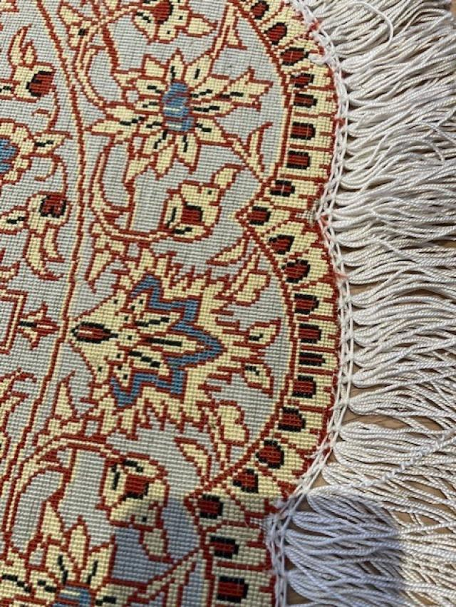 Hand Made very fine pure silk persian Qum round carpet 3 Image