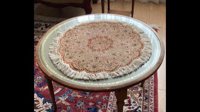 Hand Made very fine pure silk persian Qum round carpet 4 Image
