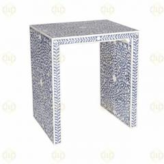 Bone Inlay Floral Design Side Table