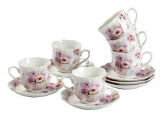 Guangyang Purple Flower Porcelain Tea Cup And Sa