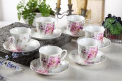 Guangyang Vintage Cup And Saucer Set Of 6 7Ounce