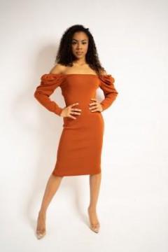 Burnt Orange Dress - Chardonnay Boutique