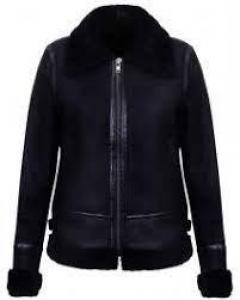 Buy Womens Black B3 Ww2 Sheepskin Leather Flying