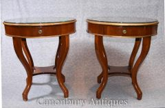 Pair Regency Side Tables Walnut Glass Topped Table