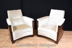 Pair Art Deco Arm Chairs Rosewood Inlay Club Chair