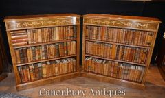 Pair Regency Low Open Bookcases