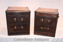 Pair Leather Campaign Chests of Drawers Bedside Nightst