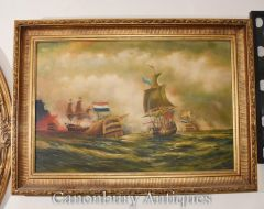 French Oil Painting Battle of Saintes Maritime Seascape
