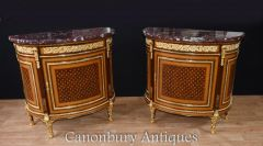Pair French Empire Demi Lune Commodes Marquetry Cabinet