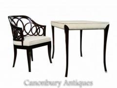 English Regency Lacquer Desk Chair Set White Shagreen