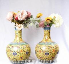 Pair Chinese Ming Porcelain Urns