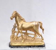 French Gilt Bronze Horse Statue