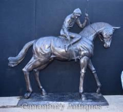Gorgeous Lifesize French Bronze Horse and Jockey Statue